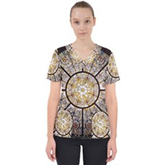 Stained Glass Window Glass Ceiling Women s V Neck Scrub Top
