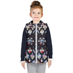 Stained Glass Sainte Chapelle Gothic Kids  Hooded Puffer Vest