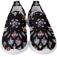 Stained Glass Sainte Chapelle Gothic Kids  Slip On Sneakers by Pakrebo