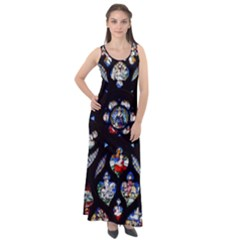 Stained Glass Sainte Chapelle Gothic Sleeveless Velour Maxi Dress