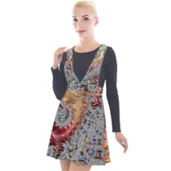 Fractal Artwork Design Pattern Plunge Pinafore Velour Dress