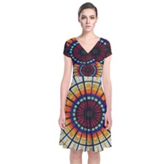 Background Stained Glass Window Short Sleeve Front Wrap Dress