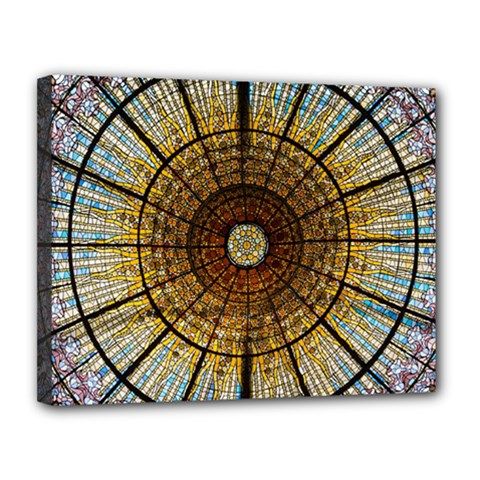 Barcelona Glass Window Stained Glass Canvas 14  X 11  (stretched)