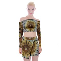 Barcelona Glass Window Stained Glass Off Shoulder Top With Mini Skirt Set