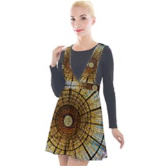 Barcelona Glass Window Stained Glass Plunge Pinafore Velour Dress