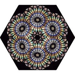 Stained Glass Cathedral Rosette Mini Folding Umbrellas