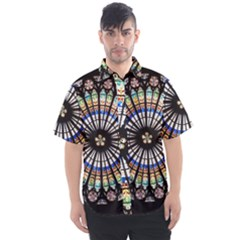 Stained Glass Cathedral Rosette Men s Short Sleeve Shirt