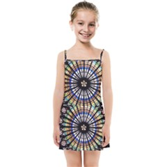 Stained Glass Cathedral Rosette Kids  Summer Sun Dress