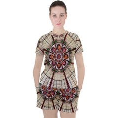 Pattern Round Abstract Geometric Women s Tee And Shorts Set by Pakrebo