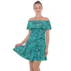 Turquoise Off Shoulder Velour Dress by LalaChandra