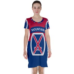 Flag Of United States Army 10th Mountain Division Short Sleeve Nightdress