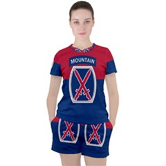 Flag Of United States Army 10th Mountain Division Women s Tee And Shorts Set
