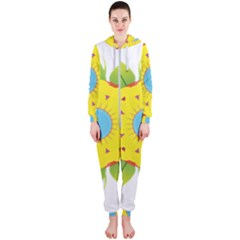 Abstract Flower Hooded Jumpsuit (ladies)