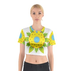 Abstract Flower Cotton Crop Top