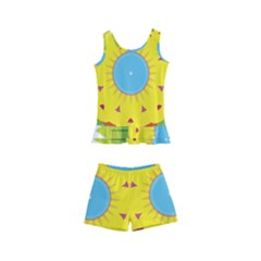 Abstract Flower Kids  Boyleg Swimsuit