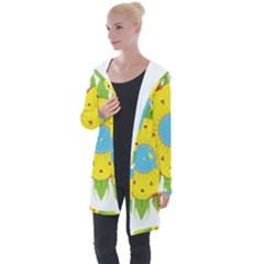 Abstract Flower Longline Hooded Cardigan by Alisyart