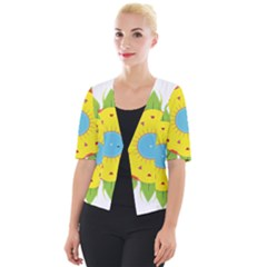 Abstract Flower Cropped Button Cardigan by Alisyart