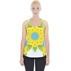 Abstract Flower Piece Up Tank Top