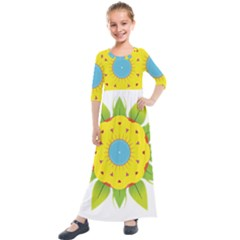 Abstract Flower Kids  Quarter Sleeve Maxi Dress by Alisyart