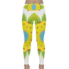 Abstract Flower Lightweight Velour Classic Yoga Leggings