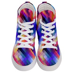 Abstract Background Colorful Women s Hi Top Skate Sneakers