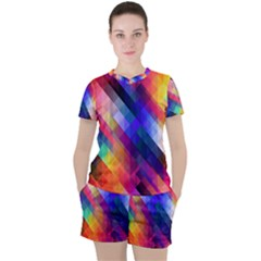 Abstract Background Colorful Women s Tee And Shorts Set
