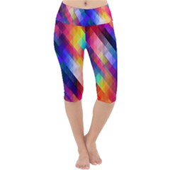 Abstract Background Colorful Lightweight Velour Cropped Yoga Leggings