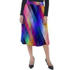 Abstract Background Colorful Classic Velour Midi Skirt