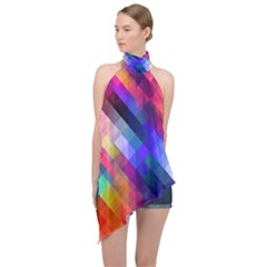 Abstract Background Colorful Halter Asymmetric Satin Top by Alisyart