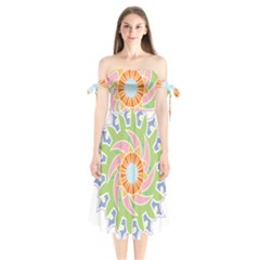 Abstract Flower Mandala Shoulder Tie Bardot Midi Dress by Alisyart