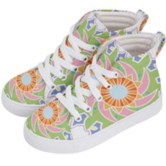 Abstract Flower Mandala Kids  Hi-top Skate Sneakers by Alisyart