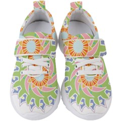 Abstract Flower Mandala Kids  Velcro Strap Shoes by Alisyart