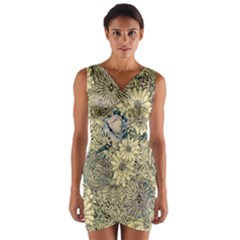 Abstract Art Botanical Wrap Front Bodycon Dress by Alisyart