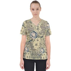 Abstract Art Botanical Women s V Neck Scrub Top