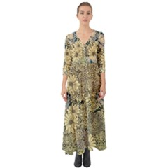 Abstract Art Botanical Button Up Boho Maxi Dress