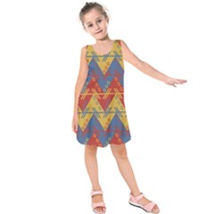 Aztec South American Pattern Zig Kids  Sleeveless Dress by Alisyart