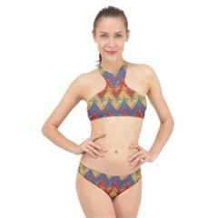 Aztec South American Pattern Zig High Neck Bikini Set