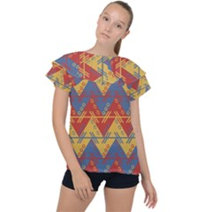Aztec South American Pattern Zig Ruffle Collar Chiffon Blouse by Alisyart