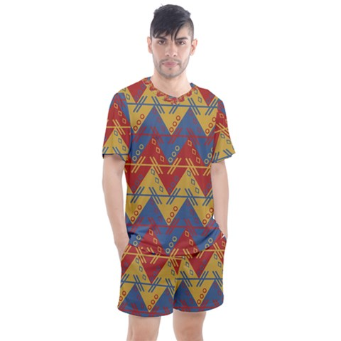Aztec South American Pattern Zig Men s Mesh Tee And Shorts Set by Alisyart