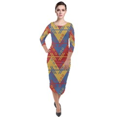 Aztec South American Pattern Zig Quarter Sleeve Midi Velour Bodycon Dress by Alisyart