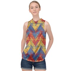 Aztec South American Pattern Zig High Neck Satin Top by Alisyart