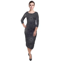 Background Star Pattern Quarter Sleeve Midi Velour Bodycon Dress by Alisyart