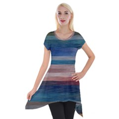 Background Horizontal Ines Short Sleeve Side Drop Tunic