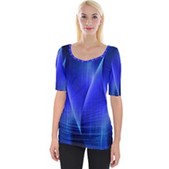 Audio Sound Soundwaves Art Blue Wide Neckline Tee by Alisyart
