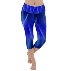 Audio Sound Soundwaves Art Blue Lightweight Velour Capri Yoga Leggings