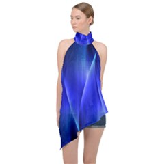 Audio Sound Soundwaves Art Blue Halter Asymmetric Satin Top by Alisyart
