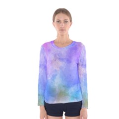 Background Abstract Purple Watercolor Women s Long Sleeve Tee
