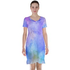 Background Abstract Purple Watercolor Short Sleeve Nightdress