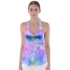 Background Abstract Purple Watercolor Babydoll Tankini Top