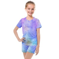 Background Abstract Purple Watercolor Kids  Mesh Tee And Shorts Set by Alisyart